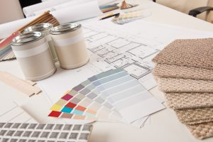 Office Of Interior Designer With Paint And Color Swatch